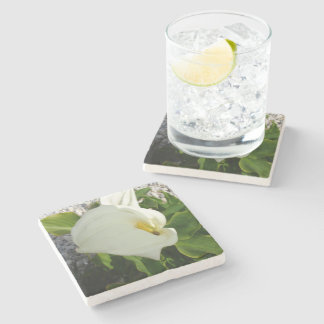 A Large Single White Calla Lily Flower Stone Coaster