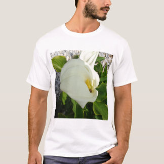 A Large Single White Calla Lily Flower T-Shirt