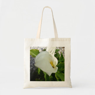 A Large Single White Calla Lily Flower Tote Bag