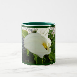 A Large Single White Calla Lily Flower Two-Tone Coffee Mug