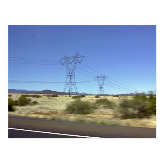 A large steel based electric pylon carrying high t postcard