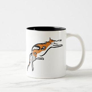 A Lazy Fat Tricolor Funny Cat Two-Tone Coffee Mug