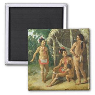 A Leeward Islands Carib Family outside a Hut, c.17 Fridge Magnets