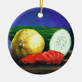 A Lemon and a Cucumber Ceramic Ornament