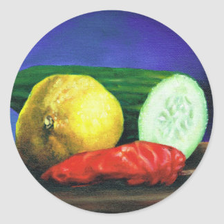 A Lemon and a Cucumber Classic Round Sticker