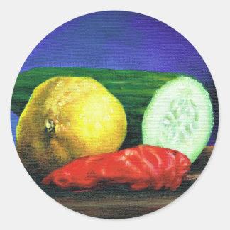 A Lemon and a Cucumber Round Sticker