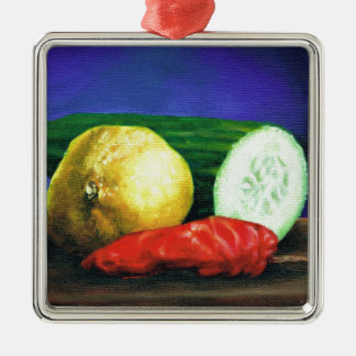 A Lemon and a Cucumber Silver-Colored Square Ornament