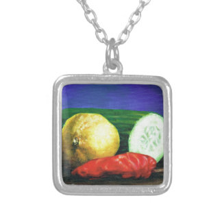 A Lemon and a Cucumber Silver Plated Necklace