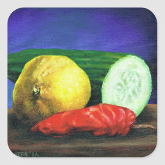 A Lemon and a Cucumber Square Sticker
