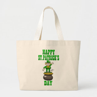 A Leprechaun standing on a pot of gold, tote bag.