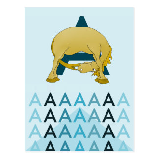 A Letter  Light blue card Flexible pony bunting. Postcard