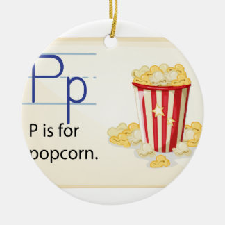 A letter P for popcorn Round Ceramic Ornament