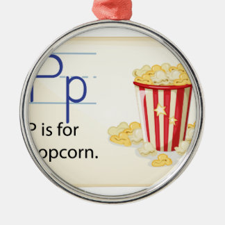 A letter P for popcorn Silver-Colored Round Ornament