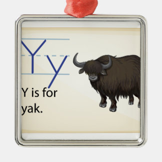 A letter Y for yak Silver-Colored Square Ornament