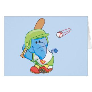 A Lil Blue Elephant Baseball Note Card
