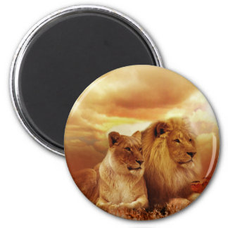 A Lion Couple on the Savannah 2 Inch Round Magnet