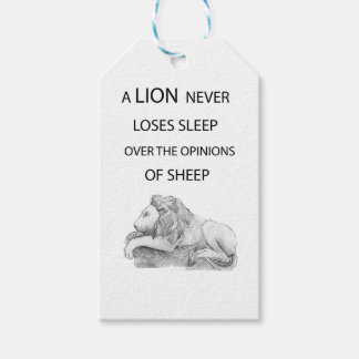 A lion  never gift tags