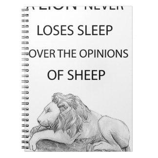 A lion  never spiral notebook