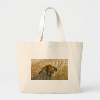 A Lion Waits, Zimbabwe Africa Large Tote Bag