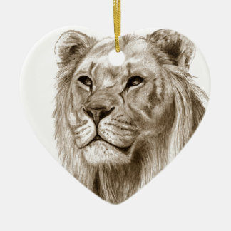 A Lion - Without Pride Drawing Sketch Art Ceramic Ornament