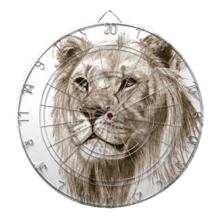 A Lion - Without Pride Drawing Sketch Art Dartboard With Darts