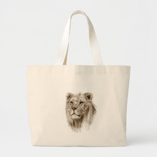 A Lion - Without Pride Drawing Sketch Art Large Tote Bag