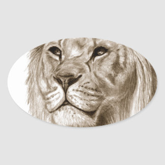 A Lion - Without Pride Drawing Sketch Art Oval Sticker