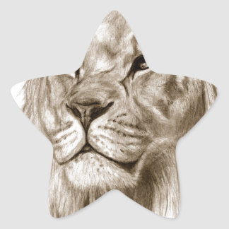 A Lion - Without Pride Drawing Sketch Art Star Sticker