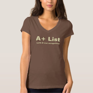 A+ List Ladies Brown V-Neck T-Shirt
