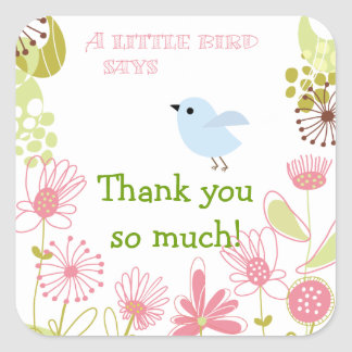 A Little Blue Bird Thank you Stickers
