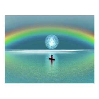 A little boat in the ocean with moon and rainbow postcard