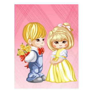 A little boy surprising a little girl with roses postcard