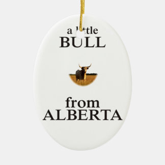 A Little Bull from Alberta Ceramic Oval Ornament