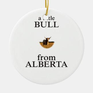 A Little Bull from Alberta Round Ceramic Ornament