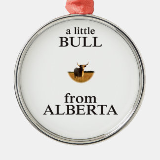 A Little Bull from Alberta Silver-Colored Round Ornament
