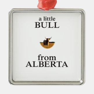 A Little Bull from Alberta Silver-Colored Square Ornament
