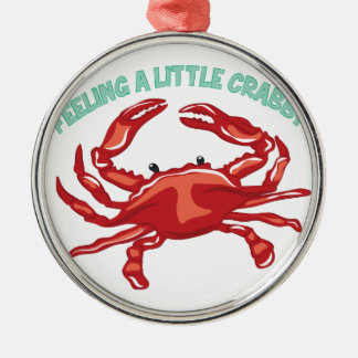 A Little Crabby Silver-Colored Round Ornament