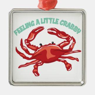 A Little Crabby Silver-Colored Square Ornament