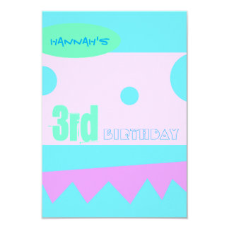 """A little Monster 3rd Birthday Party Invitation 3.5"""" X 5"""" Invitation Card"""