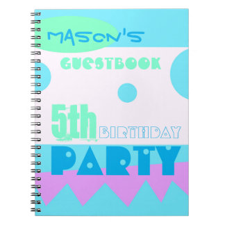 A Little Monster 5th Birthday Party Guestbook Spiral Note Books