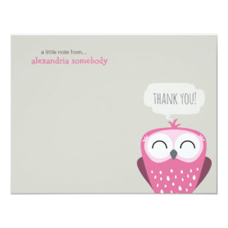 A Little Note Thank You Happy Pink Owl Card