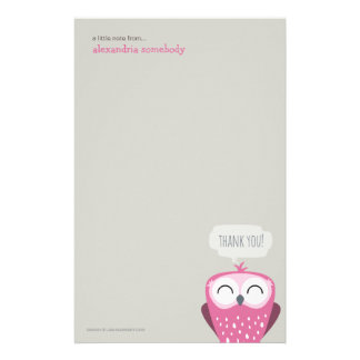 A Little Note Thank You Pink Owl Personalized Stationery