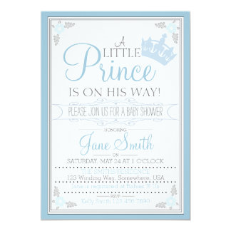 """A Little Prince Is On His Way 5"""" X 7"""" Invitation Card"""