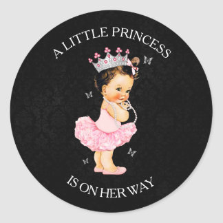 A Little Princess is on Her Way Baby Shower Classic Round Sticker