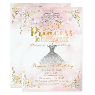 A Little Princess turning SIX 6TH Birthday Party Card