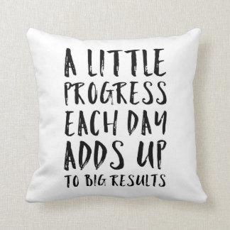 A Little Progress Motivational Quote Throw Pillow