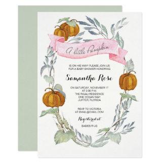 A Little Pumpkin Greenery Girl Invitation