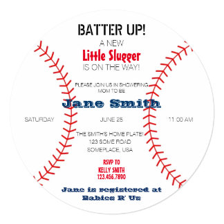 A Little Slugger Baby Shower Card