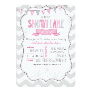 A Little Snowflake Pink Baby Shower Invitation