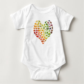 A Little Vegan Baby Heart by Mini Brothers Baby Bodysuit